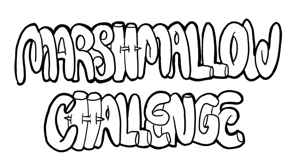 Spaghetti Turm Spiel mit Marshmallows